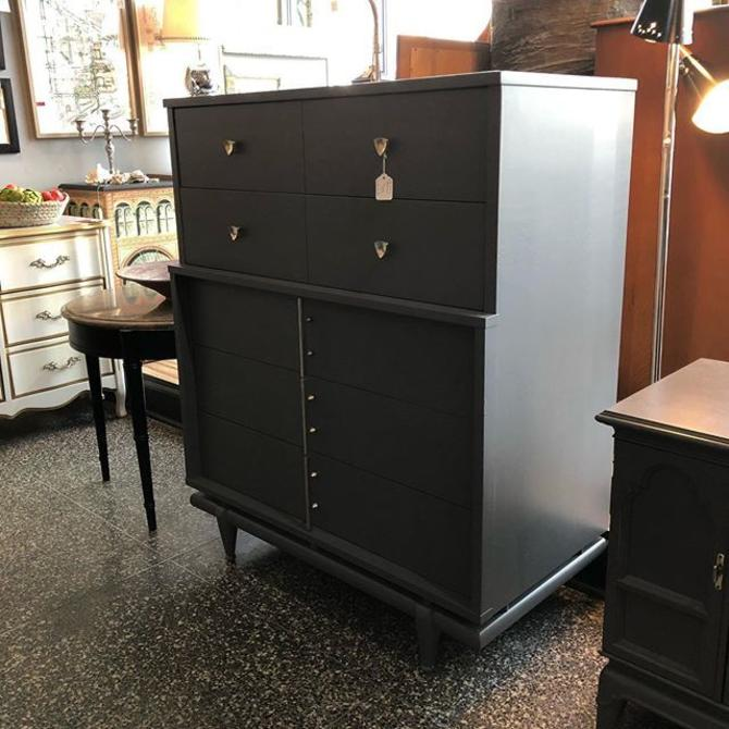 Fabulous grey painted mcm chest of drawers - $595!