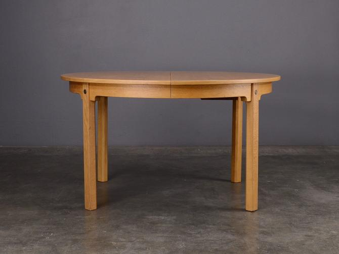 Mid Century Round to Oval Dining Table Borge Mogensen Danish Modern Oak by MadsenModern
