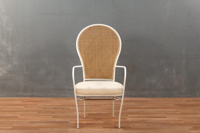 White & Woven Cane-Back Armchair