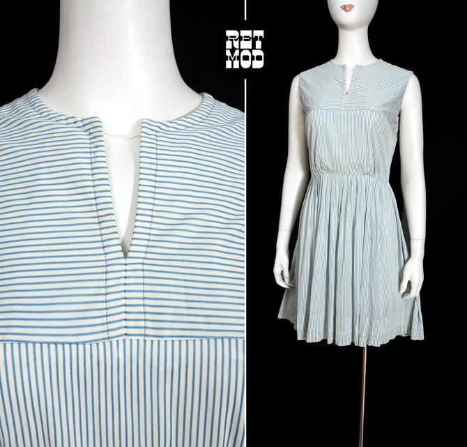 Easy Breezy Vintage 60s 70s Blue Stripe Nylon Fit and Flare Sleeveless Dress by RETMOD