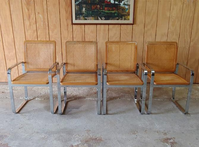 Vintage Modern Berkey Flat Bar Chrome and Cane Dining Chairs - Set of 4 by ModandOzzie