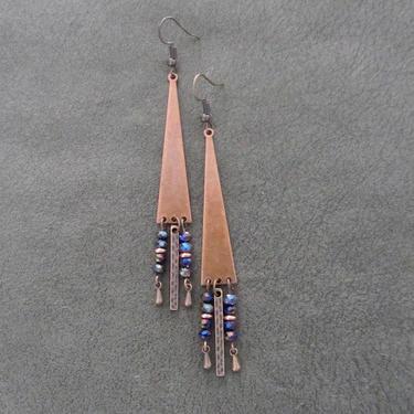 Copper chandelier earrings, boho geometric dangle earrings, gypsy earrings, unique earrings, bohemian, rustic earrings, purple crystal by Afrocasian