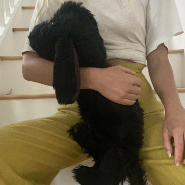 Vintage 1930s Stuffed Animal Dog Purse Pajama Bag Clutch Black Fur Floppy Ears