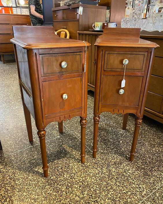 """Skinny nightstand with cute little floral knobs, 13""""W x 18""""L x 30""""T"""
