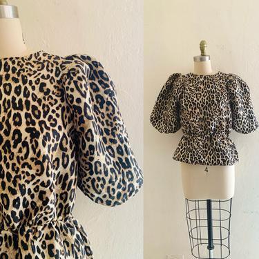 vintage 90's cheetah print top // balloon sleeve peplum blouse by HarlowsVintage