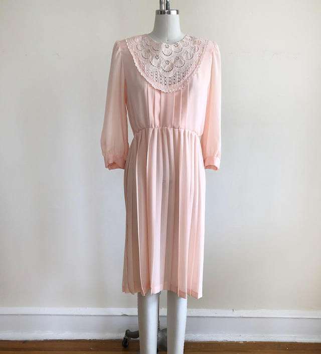Pale Pink Dress with Lace Yoke and Pleated Skirt - 1980s by LogansClothing