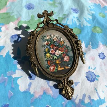 Antique Italian Victorian Brass Miniature Frame with Floral Vase Print Intricate Pattern Scrolls and Florals, Made in Italy by AMORVINTAGESHOP