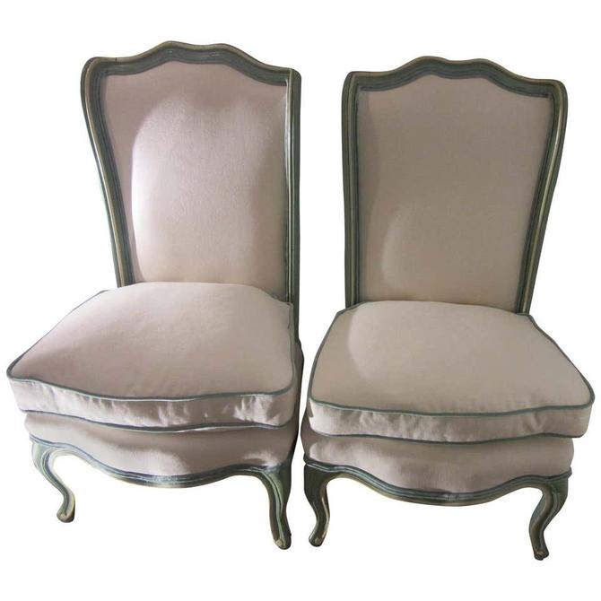 Hollywood Regency Blue Slipper Chairs with White Chenille Upholstery and Leather