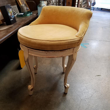 Vintage Upholstered swivel vanity chair 19 (diam) x 24Chair