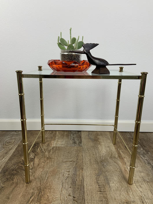 Vintage Hollywood Regency Style Glass and Gold Metal Table by DesertCactusVintage