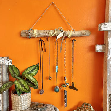 Driftwood Jewelry Hanger Necklace Holder Hanging Wood Hooks Boho Decor Bohemian Wall Key Hook Sustainable Gifts by LoveItShop