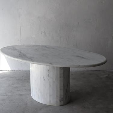 Post Modern Italian Carrara Marble Oval Dining Table by AgedModern