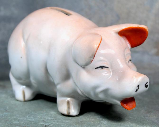 Happy Piggy Bank! Porcelain Piggy Bank - Classic Vintage Piggy Bank with Coin Slot - Circa 1950s Made in Japan | FREE SHIPPING by Bixley