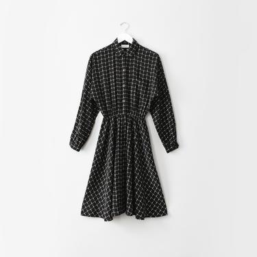 vintage grid print shirt dress, black & white button front midi dress, size S by ImprovGoods