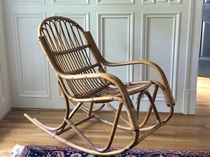 Vintage Rattan Albini Style Rocking Chair by Northforkvintageshop