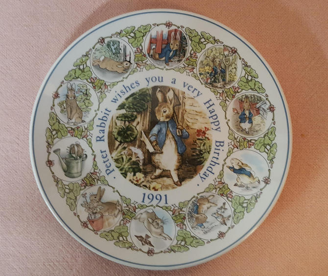 Vintage Beatrix Potter Nursery Ware 1991 Peter Rabbit Birthday Plate By Wedgwood by OverTheYearsFinds