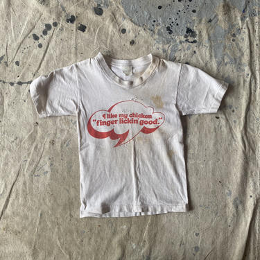 Vintage 1970s KFC Finger Lickin Good Thrashed Spruce Kids T Shirt by NorthGroveAntiques