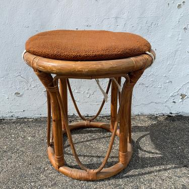 Rattan Stool Bentwood Bamboo Paul Frankl Style Ottoman Footrest Rattan Hassock Wood Vintage Seating Mid Century Furniture Bohemian Boho Chic by DejaVuDecors