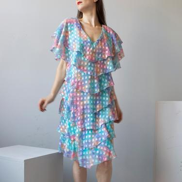 fun aqua chiffon multi layered dress / M by EELT