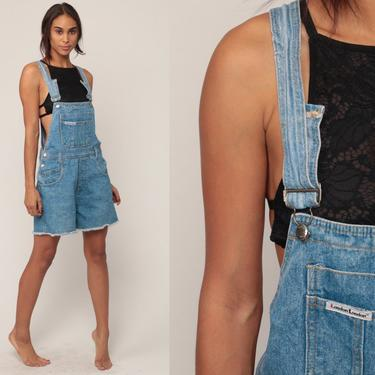 Short Overalls Denim Overall Shorts CUTOFF Shortalls Jeans 90s Grunge Jean Suspender Blue Woman Frayed 1990s Vintage Extra Small xs by ShopExile