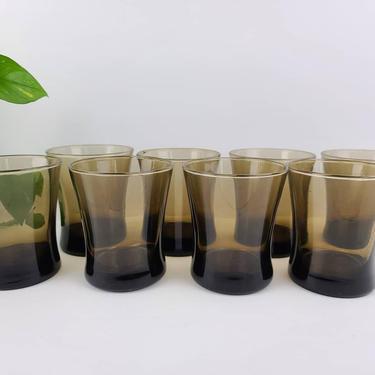 FREE SHIPPING! Smoke glass set of 8 Libbey 12 oz tumbler rocks glasses barware by CloudArtbyKristen