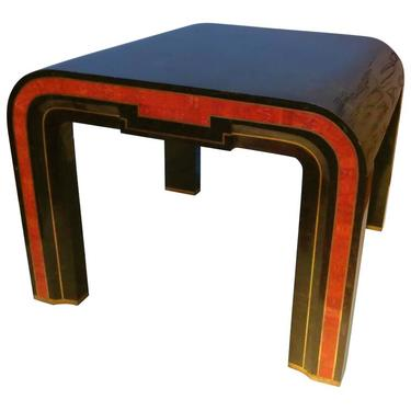 Cocktail or End Table with Tessellated Marble Red Coral and Brass Inlay