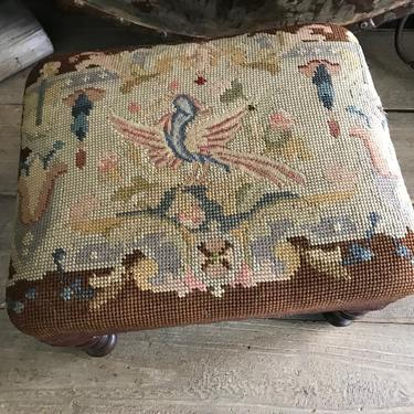 French Needlepoint Footstool, Floral Bird Design, Repaired by JansVintageStuff
