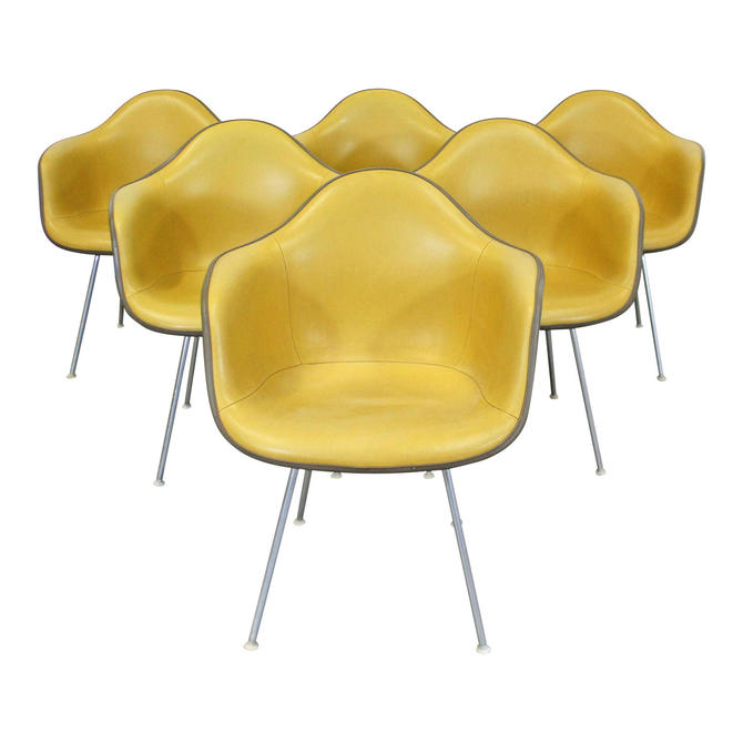 Set of 6 Mid-Century Danish Modern Eames for Herman Miller DAX Shell Arm Chairs by AnnexMarketplace