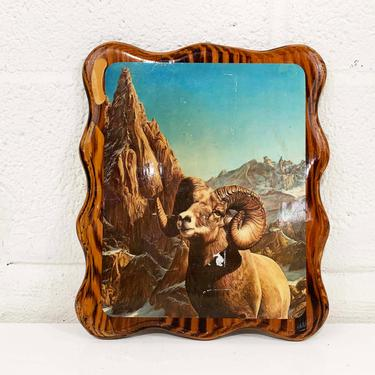Vintage Mountain Scene Decoupage Wall Plaque 1970s Bighorn Sheep Wood Hanging 70s Kitschy Kitsch Cabin Lodge Rustic Mantique by CheckEngineVintage