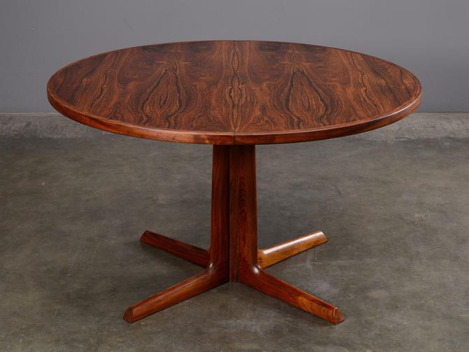 1960s Danish Modern Gudme Round Rosewood Dining Table by MadsenModern