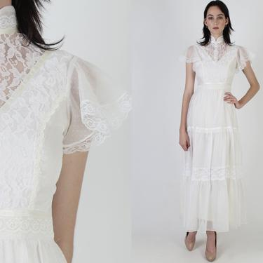 Vintage 70s Swiss Dot Wedding Dress / Sheer White Floral Lace Maxi Dress / High Collar Solid Bridal Dress / Victorian Inspired Long Dress by americanarchive