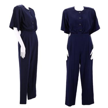 80s navy wool jumpsuit size 6 / vintage 1980s Mary Ann Restivo suiting one piece size medium by ritualvintage