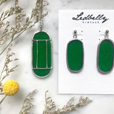 Green Translucent Stained Glass Jewelry Set | Stained Glass Necklace | Stained Glass Earrings | Vintage Style Jewelry Set by LedbellyVintage