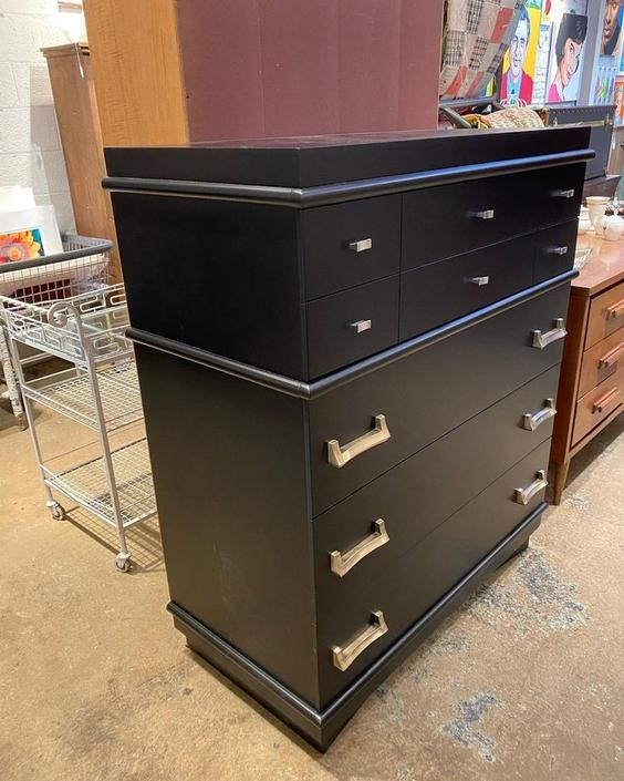 "Black midcentury modern chest of drawers, 38"" x 19"" x 45"""