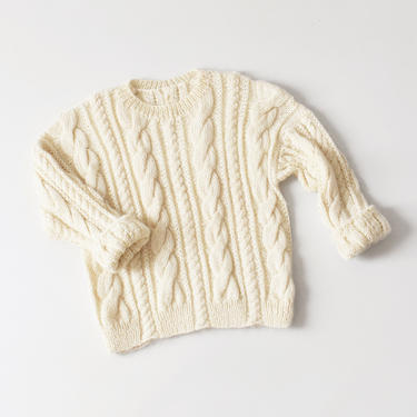 vintage handknit fisherman's sweater, chunky cable knit pullover, size L / XL by ImprovGoods