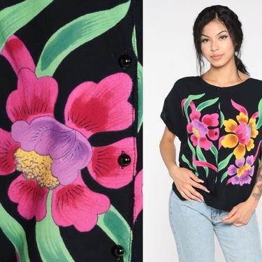 Black Floral Blouse 80s Button Up Shirt Tropical Short Sleeve Top Slouchy Cap Sleeve Romantic Boho 1980s Vintage Bohemian Large by ShopExile