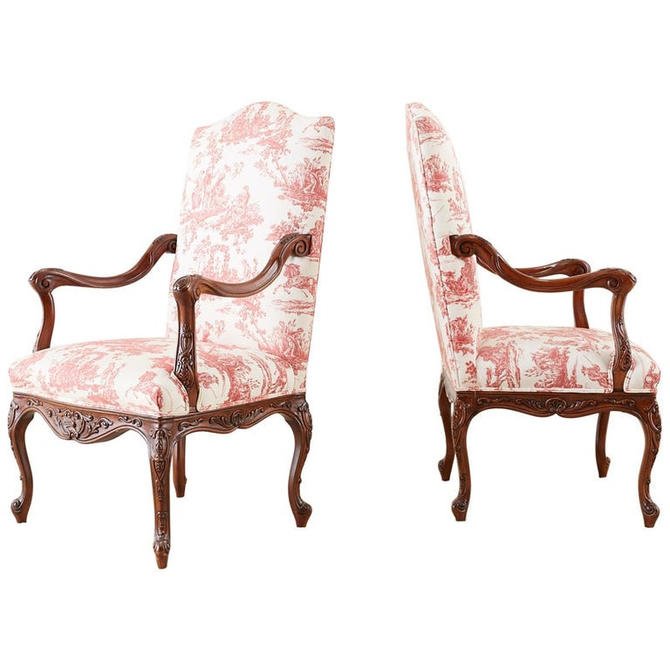 Pair of French Provincial Style Walnut Toile Fauteuil Armchairs by ErinLaneEstate