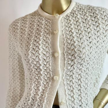 Winter White Gramma Cardigan with Light sparkle fits S - M by BeggarsBanquet
