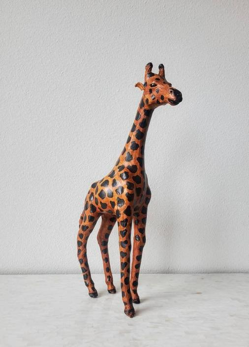 Mid-Century Hand Painted Leather Giraffe Sculpture by LynxHollowAntiques