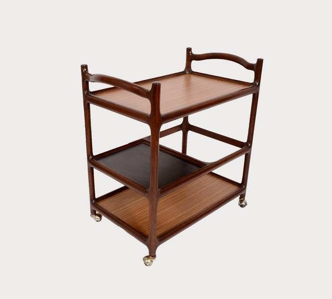 Rosewood Bar Cart Rolling tea cart  butlers tray danish modern 60s by HearthsideHome
