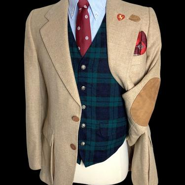 Vintage 1970s WOOL TWEED Blazer ~ 36 R to L ~ jacket / sport coat ~ Elbow Patches ~ Chinstrap ~ Hunting ~ Preppy / Ivy Style / Trad by SparrowsAndWolves