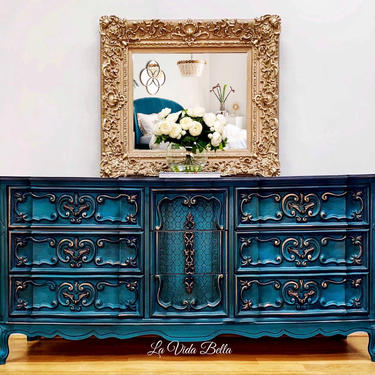 Hand Painted French Console, Dresser, Buffet, Sideboard, Entryway Piece by LaVidaBellaDesign