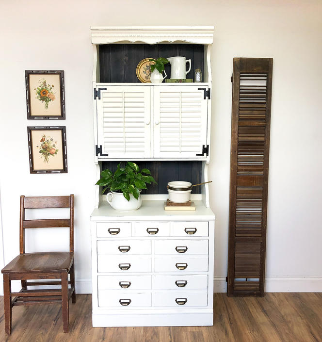 White China Cabinet - Farmhouse Furniture by VintageHipDecor