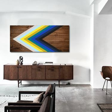Abstract Art, Wood Wall Art, Modern Geometric Painting, Home Decor, Minimalist Large Contemporary Mid Century Modern Abstract Sculpture by LauraAshleyWoodArt