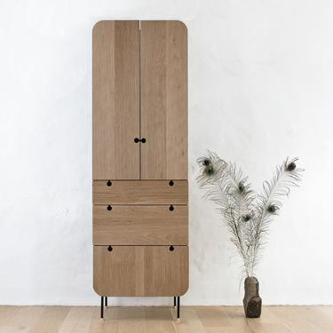 Fluted Tall Cabinet - Solid Oak with blackened walnut, bronze feet, textured face by wrenandcooper