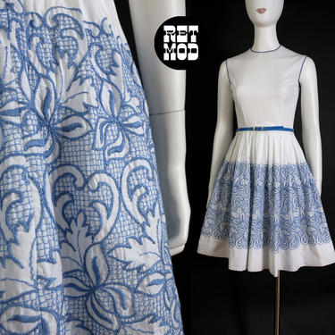Sweet Vintage 50s White Cotton Fit and Flare Dress with Intricate Blue Embroidery by RETMOD