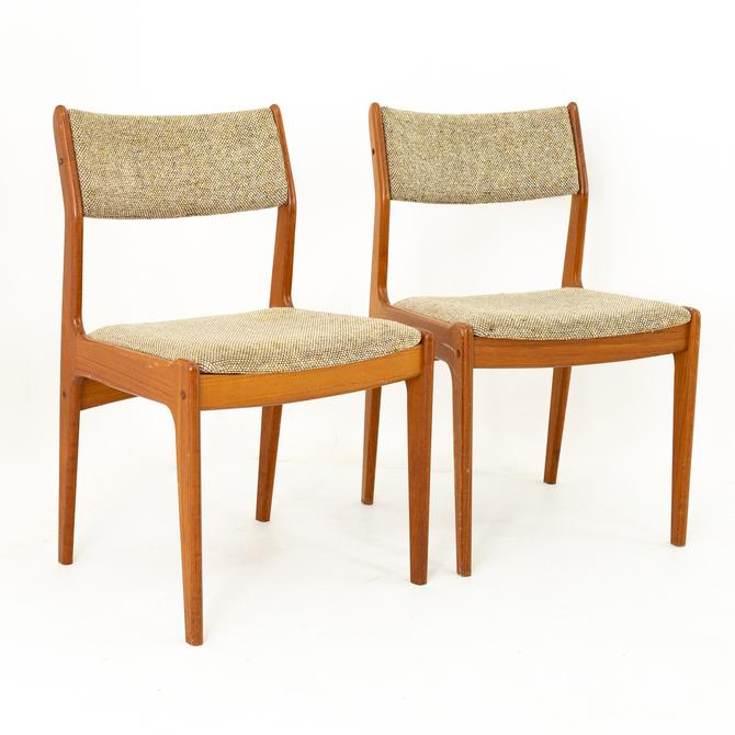 Mid Century Teak Upholstered Dining Chairs - Pair by ModernHill