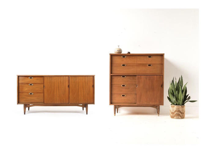 Free and Insured Shiping within US - Vintage Mid Century Walnut Dresser Drawer Cabinet Storage Set by BigWhaleConsignment