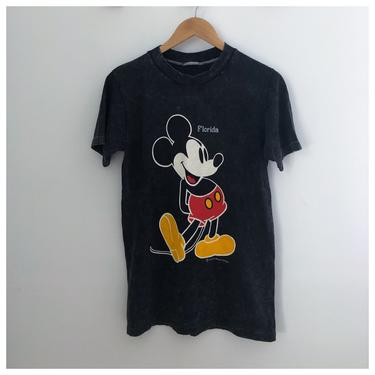 Vintage 80s Black Tie Dye Disney Mickey Mouse Florida Tee Small by theaspentree