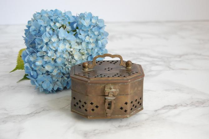 Vintage Brass Pierced Box Tiny Cricket Box Container Brass Box Vintage Catchall Trinket Box by PursuingVintage1